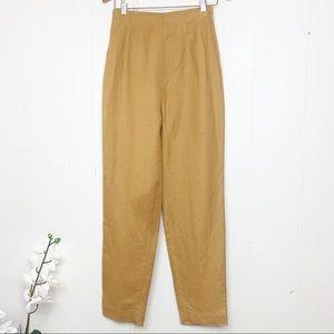 Donna Morgan mustard linen blend trousers